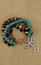 Gypsy Soule® Turquoise, Black, Copper & Pearl Beaded Bracelet DB372