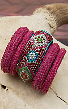 Gypsy Soule® 5 Piece Fuchsia Assorted Bangle Set