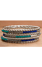 Wear N.E. Wear® Silver, Blue and Turquoise Beaded 7 Piece Bangle Bracelet Set