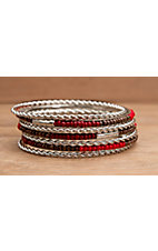 Wear N.E. Wear® Silver, Red and Brown Beaded 7 Piece Bangle Bracelet Set