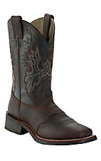 Double H Men's Chocolate Tan Crazyhorse Saddle Vamp Square Toe Western Boots