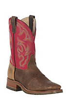 Double H� ICE Collection? Men?s Old Town Brown w/Red Top Square Toe Western Work Boot