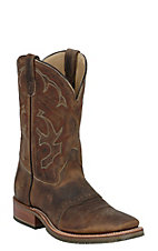 Double H® Men's Distressed Brown Crazy Horse Saddle Vamp Square Toe Western Boot