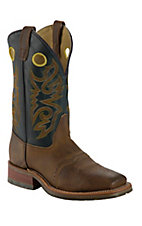 Double H ICE Collection Men?s Brown w/ Green Top Square Toe Western Boot