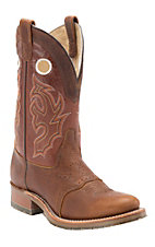 Double H Men's Cognac w/Rust Top Saddle Vamp Double Welt Round Toe Western Boots