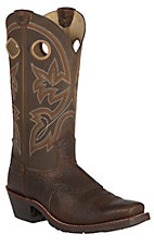 Double H Men's Mustang Brown Saddle Vamp Punchy Toe Western Boots