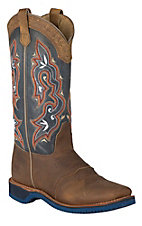 Double H Women's Distressed Brown w/ Navy Blue Top Saddle Vamp Square Toe Western Boots