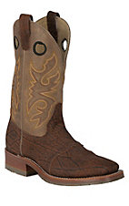 Double H ICE Collection Men's Cognac Elephant w/ Tan Top Exotic Square Toe Western Boots