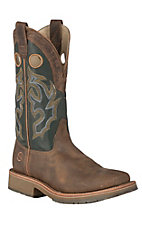 Double H ICE Collection Men's Folklore Brown with Green Top Square Steel Toe Roper Work Boot