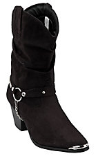 Dingo Ladies Black Slouch with Studded Strap and Toe Rand Fashion Western Boots