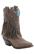 Dingo Women's Distressed Tan w/Fringe & Star Snip Toe Western Boots