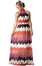 Karlie® Women's Navy, Fuchsia, Red and Brown Chevron Halter Maxi Dress