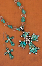 Cindy Smith Co® Turquoise Beaded Cross & Crystals Jewelry Set   DN0065