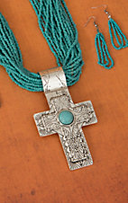 Turquoise Beaded w/ Silver and Turquoise Aztec Cross Jewelry Set