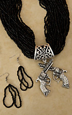 Black Beaded w/ Silver, Turquoise and Rhinestone Crossed Pistols Jewelry Set
