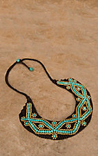 Pannee® Turquoise & Gold Beaded Flower Necklace
