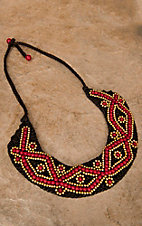 Pannee® Red & Gold Beaded Flower Necklace