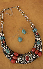 Silver with Turquoise and Red Stones Collar Necklace and Earrings Jewelry Set