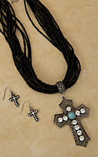 Black Beaded w/ Silver, Turquoise and Rhinestone Rustic Cross Jewelry Set
