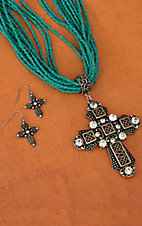 Turquoise Beaded w/ Silver and Rhinestone Cross Jewelry Set