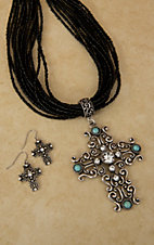Cindy Smith Black Beaded with Silver, Turquoise and Rhinestone Filigree Cross Jewelry Set