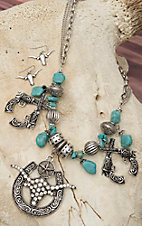 Cindy Smith Co® Turquoise Stone w/ Crossed Pistols & Longhorn Jewelry Set DN24100
