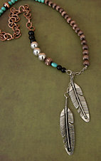 Gypsy Soule® Silver Feather Charms w/ Copper, Turquoise, Black & Silver Beads Necklace DN373