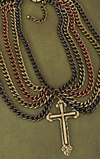 Gypsy Soule® Multi Metal Chain & Cross Charm Bib Necklace DN374