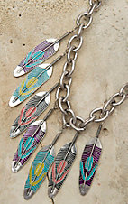 Gypsy Soule® Silver Chain w/ Multicolor Feather Charms Necklace