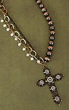 Gypsy Soule® Anitqued Gold & Crystal Flower Cross w/  Brown & Pearl Beads Necklace DN386