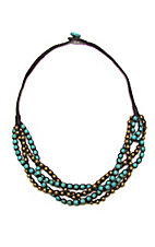 Pannee® Turquoise and Gold Braided Necklace