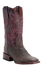 Dan Post® Ladies Distressed Chocolate w/ Red Top Square Toe Western Boots
