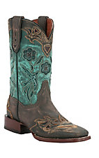 Dan Post Ladies Sanded Copper w/ Turquoise Blue Bird Top Square Toe Western Boots