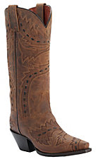Dan Post Ladies Tan Distressed Sidewinder Snip Toe Western Boots