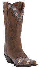 Dan Post Women's Distressed Brown with Denim Floral Embroidery Snip Toe Western Boots