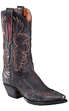 Dan Post® Ladies Distressed Black Betty with Inlay Wingtip Snip Toe Western Boots