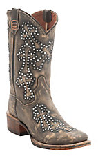 Dan Post Women's Destroyed Brown w/Stud Cross Design Square Toe Western Boots