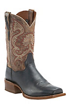 Dan Post Men's Black w/ Antique Brown Top Double Welt Cutter Toe Western Boots