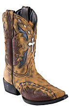 Dan Post® Kids Vintage Tan Brown w/ Silver Cross Inlay Snip Toe Western Boot