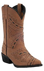 Dan Post® Kids Tan Sidewinder Black Laced Snip Toe Western Boot