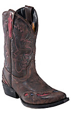 Dan Post® Youth Distressed Dark Brown w/ Navy & Red Inlay Snip Toe Western Boot