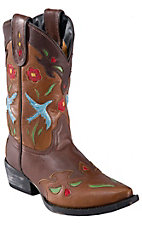 Dan Post® Youth Brown w/ Blue Bird & Multi Color Floral Inlay Snip Toe Western Boot