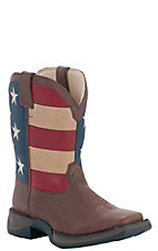 Durango® Kid's Brown w/ USA Flag Top Square Toe Western Boots