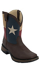 Durango® Lil' Durango™ Kid's Dark Brown w/ Texas Flag Top Square Toe Western Boots
