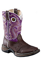 Durango® Kid's Dark Brown w/Purple Saddle Top Saddle Vamp Square Toe Western Boots