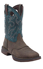 Durango Rebel Men's Distressed Brown w/ Antiqued Blue Top Double Welt Square Toe Western Boots