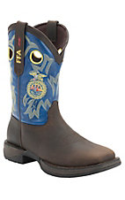 Durango Men's Distressed Brown w/Blue Top FFA Logo Double Welt Square Toe Western Boots