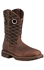 Durango Rebel Mens Nicotine Brown Diamond Stitch Steel Square Toe Western Work Boot