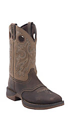 Durango Rebel Men's Distressed Brown w/ Tan Top Double Welt Square Toe Western Boots