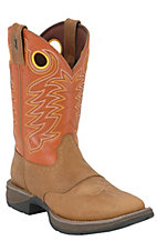 Durango® Rebel™ Men's Dusty Brown with Pumpkin Orange Square Toe Western Boots